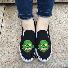Wen Design Cartoon Green Monster Tusky Zombie Face Skate Men Canvas Shoes Slip On Flats Women Sneakers Black White 2 Choices(China)