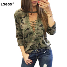 Fashion lace bandage camouflage T-shirts Women long sleeve tops tees Sexy femme summer t-shirts feminina Hollow out army shirts