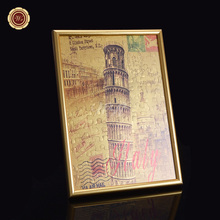 Gold Foil Painting Gold Frame Colorful Leaning Tower of Pisa Design Wall Art for Home Decor and Souvenirs Puzzles Artwork Crafts(China)