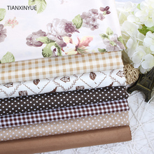 Twill 7 pcs 40 *50 cm flower fabric Snow coffee series cotton fabric for Sewing patchwork fabric Textile Tilda Doll Body Cloth(China)