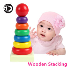 HOT Sale New children's toy kids Wooden Stacking Stack Up Rainbow Tower Ring Learning Building Blocks Education Building Blocks(China)