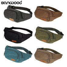 Canvas Three Zipper Pockets Fanny Pack Chest Waist Bag with Cell Phone Pouch