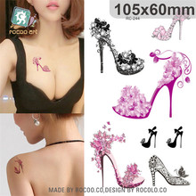 Body Art waterproof temporary tattoos for lady and women noble 3d sexy crystal shoe design tattoo sticker Wholesale RC2244