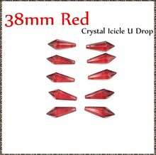 80pcs/lot 38mm Red Crystals For Chandelier Glass Lighting Hanging Pendant Glass Icicle U Drop For Lamp Decoration