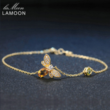 LAMOON Fine Bee Peridot 5X7mm 100% Natural Gemstone Oval Citrine 925 Sterling Silver Jewelry Link Chain Charm Bracelet