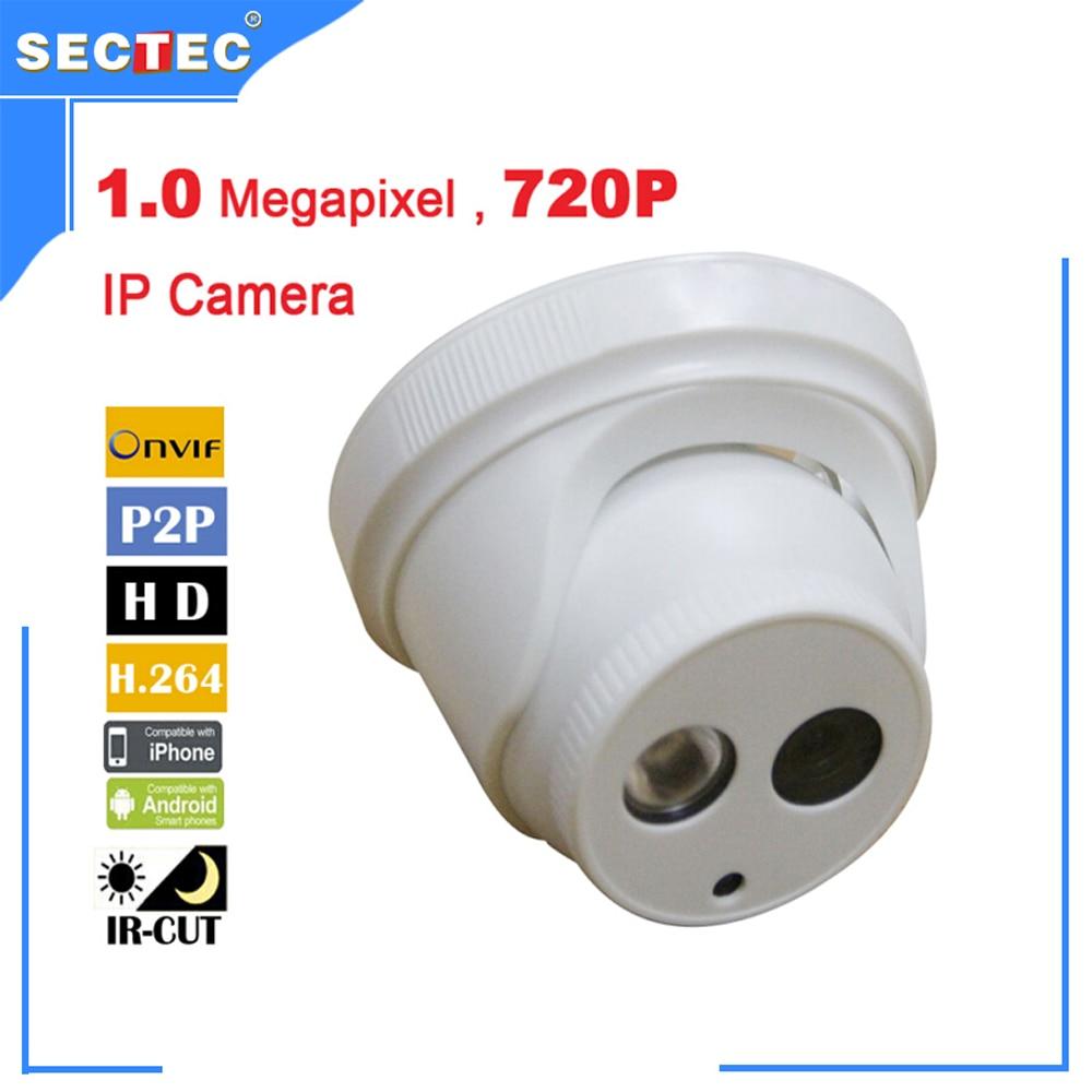 Free shipping 720P Dome IP Camera CCTV camera 3.6mm HD 3MP Lens ONVIF 1.0 Megapixel P2P indoor 720p Camera<br><br>Aliexpress
