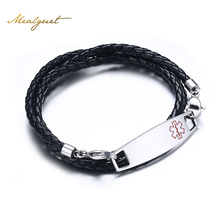 Buy Meaeguet Free Engrave Medical Bracelets&Bangles Stainless Steel+Leather hand chain ID Bracelet Bangle Men Jewelry for $6.49 in AliExpress store