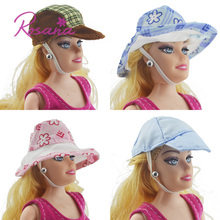6 Pcs Different Mixed Style Fashion Daily Summer Hats Caps for Barbie Doll Dress up Random Dolls Accessories for Girl Xmas Gift(China)