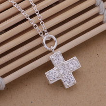 AN236 top quality silver cross pendant necklace charm jewelry with zircon classic beautiful Christmas gift
