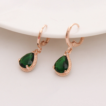 Gold Color Earrings Green Water Drop CZ Stone Pierced Dangle Earrings Women/Girls Long Drop Earrings fashion jewelry