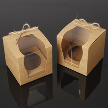 24PCS/LOT Brown Kraft Paper Cupcake Box Cake Box With Window Wedding Party Favor Box Cake Packaging(China)