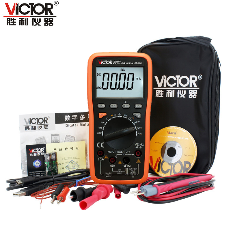 Victor genuine VC86C digital universal multimeter display table DC/AC/frequency/temperature with USB interface black bag<br>