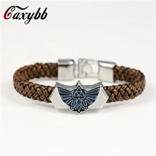 New Men Jewelry Leather Bracelet Game The Legend Of Zelda Bracelets Boy Gift Cosplay Bangles Leather Braided Wristband wholesale