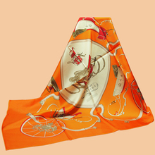 "Huajun || new year new color ""Springs"" 90 silk scarf 100% mulberry silk twill scarf printing shawl"