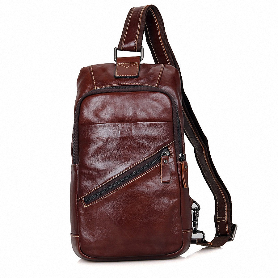 ForUForM Mens Vintage Cowhide Genuine Leather Bag Chest Pack Messenger Travel Shoulder Sling Pack Chest Casual Bag LI-1609<br>