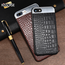 KISSCASE Crocodile Skin Metal Leather Case For iPhone 6 6S 7 Plus Luxury Protective Mobile Phone Cover Shell For iPhone 6 6S 7(China)