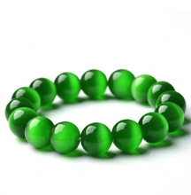Natural Green Opal Stone Balls Bracelet & Bangle Ladies Brief Single Layer Beads Rosary Wristband  Hand Chain For Women