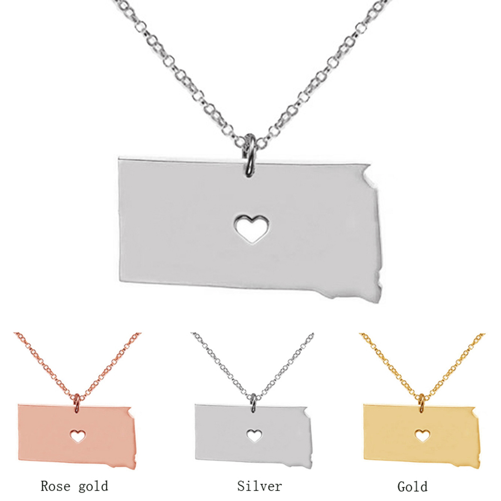 Suteyi South Dakota State Pendant With Love Map Necklaces Custom State Necklace Stainless Steel Jewelry Women Gifts