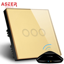 ASEER,Smart home Touch Switch,3Gangs touch interruptor Crystal Glass Panel,AC110~240V,LED indicator,UK Light Touch Screen Switch