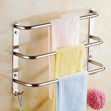 Jieshalang Towel Holder 304 Stainless Steel Single Towel Bar Bathroom Shelf Towel Bar Multifunctional Multilayer Towel Bars(China)