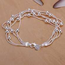 New silver plated Jewelry  Silver plated Cuff Chain Charm H234 Five lines light bead Bracelet Jewelry Bracele