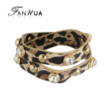FANHUA Punk Style Long Pu Leather Chain Leopard Pattern Wrap Bracelets Spike Rhinestone Decoration Bangles Wristband Bijoux