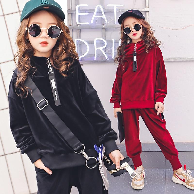 Teenage Girls Clothing Sets 6-14Y Spring New 2018 Girls Long Sleeve Sweatshirt &amp; Pants 2pcs Girls Fashion Outfits<br>