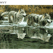 2017 Two Wolfes Frameless Bus picture DIY Oil Painting By Numbers Canvas Painting On The Wall Art Pictures For Home Decoration(China)