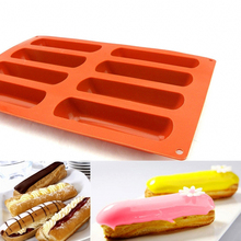 Cake ecorating 8 hole Eclair Puff Silicone Cake Mould baking fingers puff Cake design Baguettes silicone bakeware For Kitchen(China)