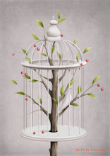 free shipping cartoon white birdcage scenery oil painting canvas painting prints on canvas kid room wall art decoration pictures