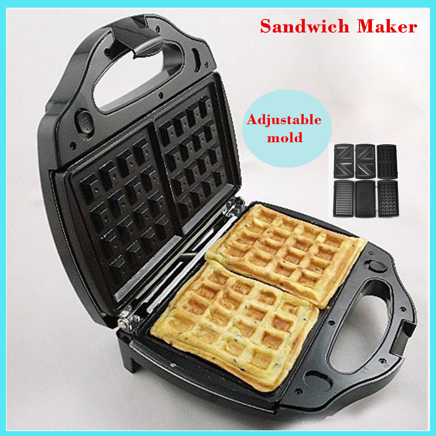 Safety Adjustable Temperature Contral Mini Sandwich Maker 220V Home Use Electric Waffle Maker Machine Waffle Breakfast Machine <br>