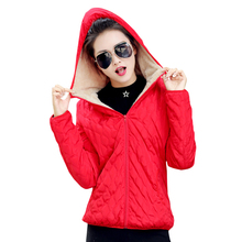 2017 women winter jacket hooded fleece solid coat spring thin outerwear female short parka zipper jaqueta feminina