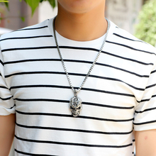 LNRRABC Punk Men Pendant Necklace Skull Alloy Silver Color Long Sweater Link Chain Fashion Jewelry Accessory Friend Gift