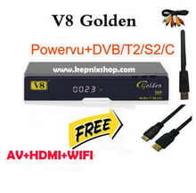 3pcs freesat v8 golden receptor de satelite dvb-s2+c+t2 youtube powervu iptv satellite receiver freesat v8 pro