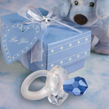 Free shipping to Europe 100pcs/lot crystal gift of Crystal blue pacifier Baby Shower favors for wedding gift(China)