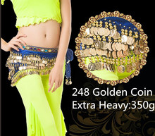 248 Gold Coins Belly Dance Hip Scarf Skirt Wholesale Velvet Dance Wrap Belt Five Row Extra Heavy Royal Blue Red Free Shipping
