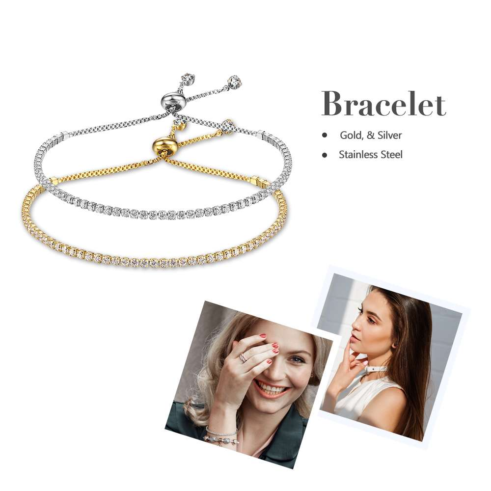 Party Jewelry Adjustable Bracelet For Women 2mm Cubic Zirconia Gold Color Blacelets & Bangles Gift For Her (JewelOra BA101437) 5