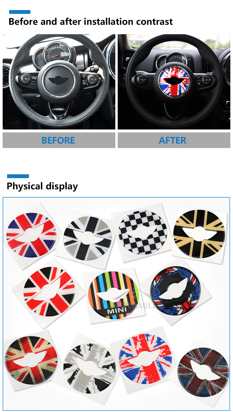 3D Car Steering Wheel Center Stickers Covers Interior Decorations for MINI Cooper JCW F55 F56 Accessories Car Styling (3)