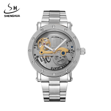 Fashion Shenhua 2017 Automatic Mechanical Watch Double-Sided Hollow Steel Tide Male Table Luxury Stainless Skeleton Mens Watches(China)