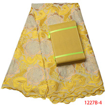 Aso Oke Swiss Lace Fabric 2017 High Quality Lace Yellow Embroidered Fabrics Wohlesale African Lace Fabric For Women QF1227B-1(China)
