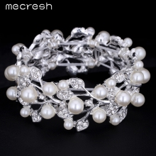 Mecresh Leaf Simulated Pearl Bridal Bracelet for Women Silver Color Bracelets & Bangles Wedding Jewelry for Women SL142