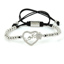 New Bijoux Heart Charm Bracelets Bangles Love Letter & Hello Kitty & Angle Wings Micro Pave CZ Rope Macrame Bracelets for Women