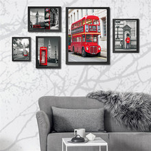British phone booth bus Big Ben city street view canvas painting modern decorative painting on the wall Modular pictures