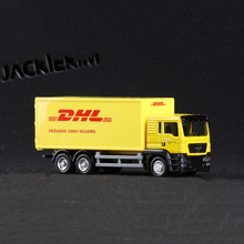 1/64 Scale Express DHL Cargo Truck Models Yellow Pull Back Alloy Plastic with Box Toys Collections Displays Children Gifts