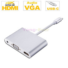 "Type C to HDMI 4Kx2K VGA + Audio USB-C to VGA HDMI 4K UHD Adaptor Converter with Audio Output for 2016 New MacBook Pro 13"" 15"""