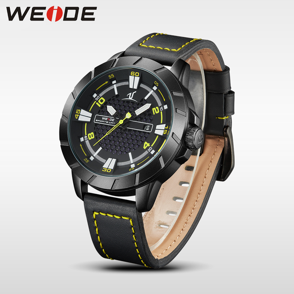 WEIDE mens watches luxury analog leather watch quartz men sport bracelet watches waterproof Schocker clock men wrist watch army<br>