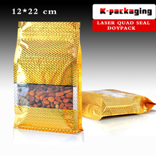 5 pcs 12x22cm Laser Foil Squre Bottom Food Packaging Bag / Branded Packaging Bags / Clear Plastic Zip Lock Bags(China)