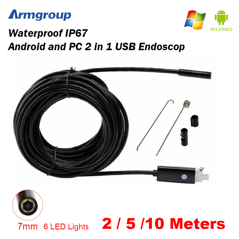 Armgroup Endoscope 7MM 2M 5M 10M Endoscope HD USB Android Endoscopio Camera Android Borescope USB Endoskop Inspection Camera<br><br>Aliexpress