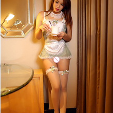 Buy Leechee ST807 Women sexy lingerie Babydoll Cosplay maid uniform hollow dress+Neck ornaments Erotic underwear porn costumes