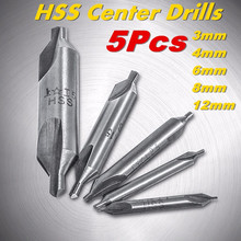 High quality 5 Pcs 60 Degree Bit HSS Combined Center Drills Countersinks Set Tool(China)